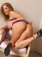Busty sexy BBW Sara Jay in sexy violet lingerie spreading her ass