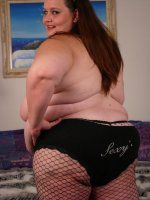 Horny bbw Ann playing with her fat covered muff before she takes cock shoving from a horny guy