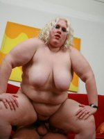 Blonde BBW Tina Rose enjoys thorough pussy licking before a hunk crams her pussy with a dick