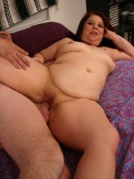 Brunette bbw Nina does a little striptease and takes hard cock punishment in her chubby pussy