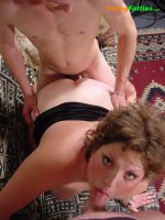See hot chubby babe playing with 2 horny bi-guys