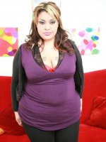 Pretty BBW Tasha Starzz parts her stocking clad thighs wide to welcome a stiff rod in her snatch