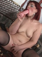Chubby babe uses her big toy to fuck her fat cunt