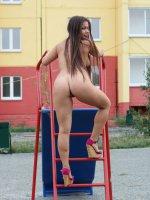 Absolutely shameless chubby girl strips in public