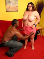 Brunette BBW Jewelz gags her throat with a huge black dick and taking it in her fat covered cunt