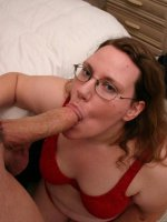 Nerdy BBW Lorelie shows off her passion for sizing up dick with her mouth and fat pussy
