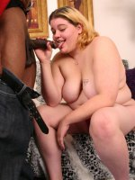 Blonde bbw Drew slurping a thick black cock before taking it in her pussy by riding on top