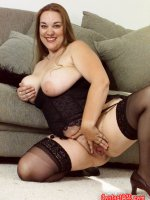 Blonde mature fatty having some fun with her hairy pussy