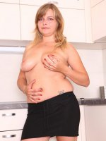 Shy young fatty shows her yummy curvaceous body