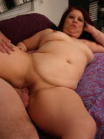 Brunette BBW Nina showing off her plump ass and takes thick cock shoving in her wet snatch