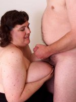 Black haired BBW Sincerely Yours is enjoying sucking her man's dick