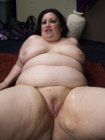 Sexy BBW Matalla is spread eagled on the floor while a hunk unloads all over her belly