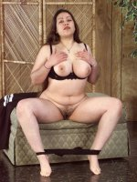 Big fat babe Junita wearing black lingerie showing her hairy big clit