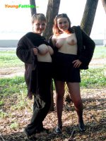 Adorable chubby babe shows her wet pussy outdoors