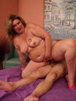 Horny mature BBW pornstar CC fucking and sucking a long dong and gets a nasty cum facial