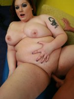 Redhead BBW Harmony performs an excellent blowjob and takes a nasty load of cumshot in her face