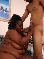 Ebony bbw Subrina takes cock pounding by grinding on top and gets cum glazing in her chocolate bazooms