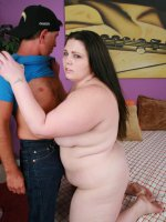 Pretty bbw Angie Luv gets cock crammed in her mouth and her fat pussy before it spurts cum in her belly