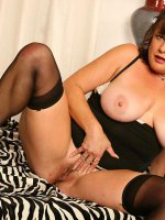 Chubby hottie Terra in sexy stockings spreading her hot little wet pussy