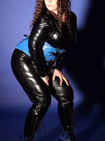 Big classy BBW Tiffany Blake wearing a sexy fit latex seducing and posing