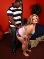 Blonde bbw Dani enjoy sucking off a black cock and gets interracial pussy plowing