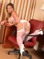 Busty BBW Sara Jay wearing her white stockings spreading her hot ass