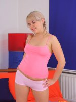 Cute fat blondie slides a hand into her pink panties