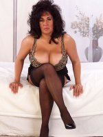 Sexy bbw brunette Ashley showing her black sexy stockings an tits