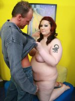 Hot bbw Harmony takes cock pounding and fondle with her massive milk jug while taking cum spraying all over