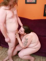 Goth plumper Menoly drops her gloomy act and gets all giddy at the sight of an erect cock