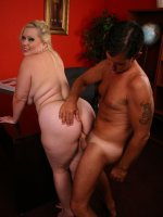 Blonde bbw Bunny playing with her massive racks and showing off her ass before she gets rammed by a big cock