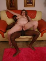 Lovely bbw Charlly slobbering a big black cock and spreading her fat thighs wide to ride it on top