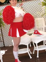 Cute chubby cheerleader Tiffany Blake is spreading her big fat wet clit