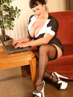 Sexy office attire Betty Boob seducing and teasing as she touchs herself