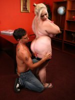 Huge blonde BBW bunny playing with her plump tits while a guy licks and dicks her pussy
