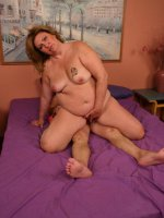 Big blonde bbw CC sucking off a big fat cock and taking it in her pussy by riding it on top