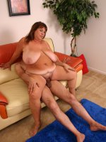 Sex starved bbw Mercy get satisfied by a huge dong before letting it unload all over her bazooms
