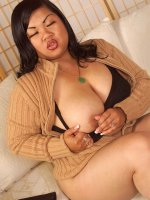 Cutie bbw Asian Kyomi babe masturbating and teasing with big boobs