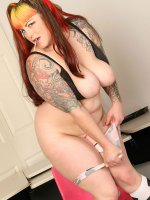 BBW slut chubby has a great pair of tits and some nice tattoos