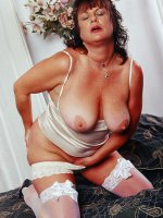 Pretty chubby milf Terra stripping her panty exposing her fatty ass and clit