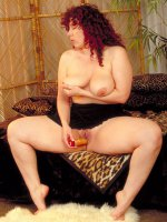 Chubby Yvette is enjoying and satisfying her big wet pussy with a lucky toy