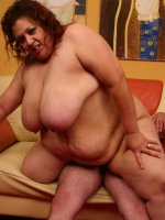 Big fat and horny Reyna indulges her huge appetite for sucking and fucking before she gets a facial