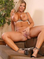 Sara Jay on her couch spreading that perfect wet pussy and nice big tits