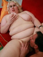 Naughty blonde BBW Tina Rose sucking and fucking a thick wang and gets a nasty cum facial