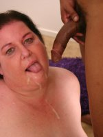 Huge bbw Sassy spreading her fat pussy and playing with her huge racks and takes nasty cum facial