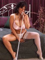 Fat chick brunette Ashley playing with her white lace stockings and feet