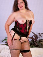 Chubby hottie PJ in fishnet stockings spreading her pussy and fondling tits