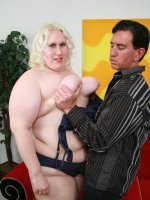 BBW Hunter fucking a blonde fatty named Tina Rose doggy style before he unloads all over her mug