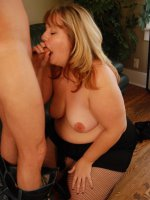 Sexy blonde BBW Bree guzzles a dick and rides it on top before it explodes all over her mug