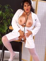 Bbw Fatty nurse Ashley showing her hairy fat clit and touching tits
